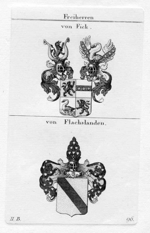 1820 - Fick Flachlanden Wappen Adel coat of arms heraldry Heraldik Kupferstich