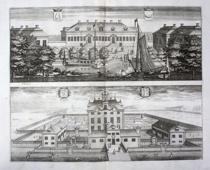 1710 - Fiholm Hanstavik Västmanland Södermanland Kupferstich Dahlberg engraving