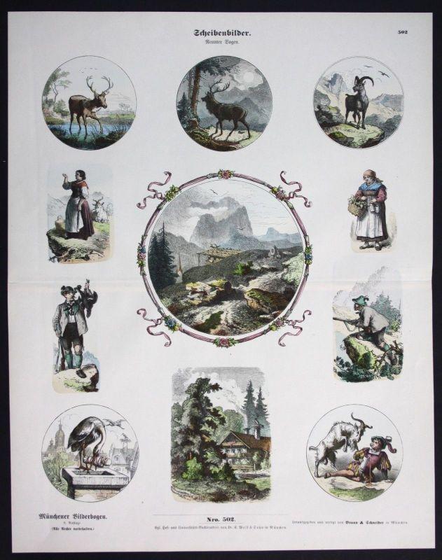1890 Scheiben Bilder Jagd Jäger Hirsch Münchener Bilderbogen Bildergeschichte