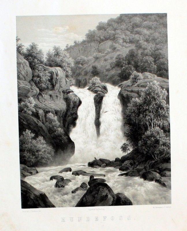 1850 - Hunderfossen Waterfall near Lillehammer Norway Lithographie Norwegen
