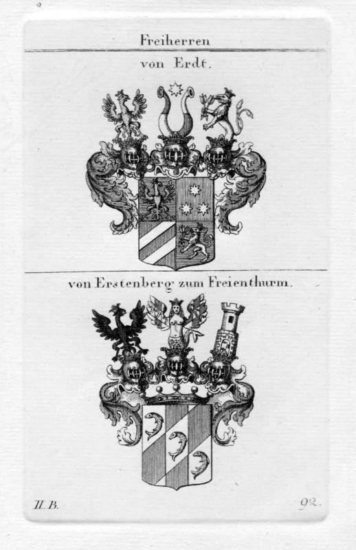 1820 - Erdt Erstenberg Wappen Adel coat of arms heraldry Heraldik Kupferstich