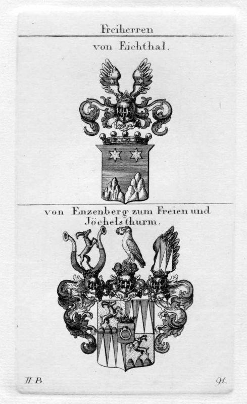 1820 - Eichthal Enzenberg Wappen Adel coat of arms heraldry Heraldik Kupferstich