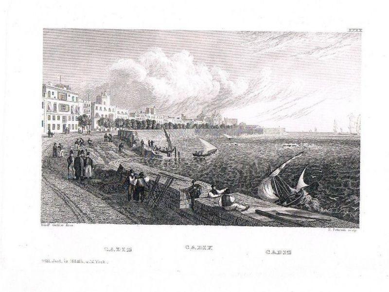 1840 - Cadiz Espana engraving Original Stahlstich engraving