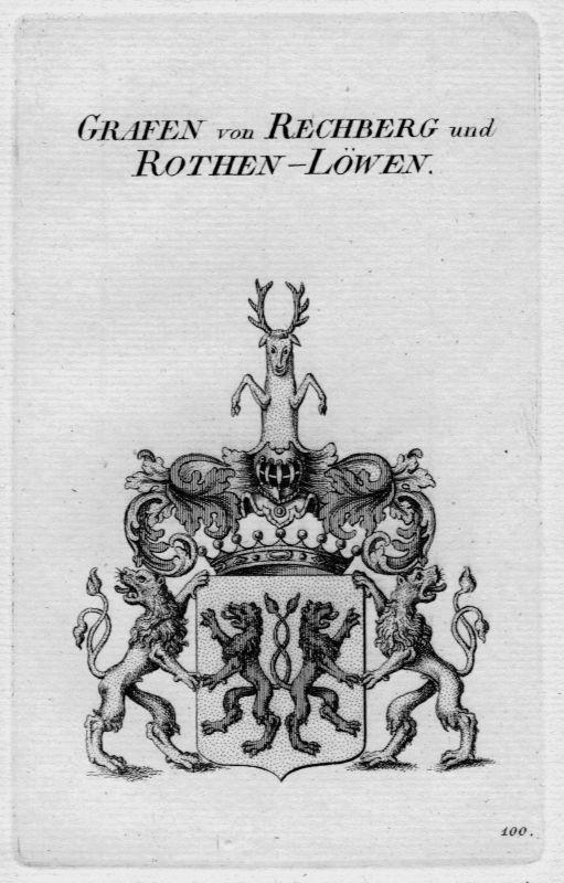 1820 - Rechberg Rothen Löwen Wappen Adel coat of arms Heraldik crest Kupferstich