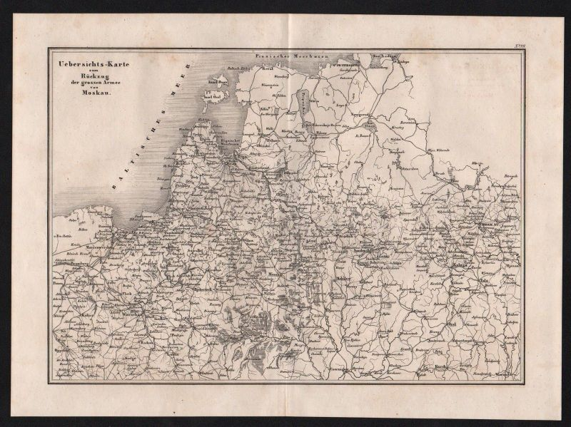 1840 - Moskau Russland Russia Schlacht battle Karte map engraving Stahlstich