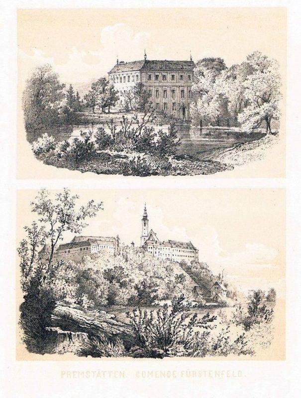 1863 Schloss Premstätten Unterpremstätten Graz Fürstenfeld Lithographie Reichert