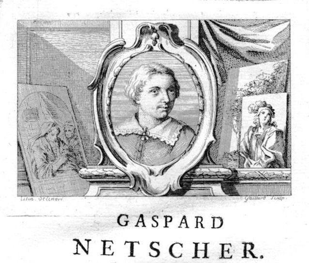 1750 - Caspar Netscher painter Maler Portrait Kupferstich gravure engraving