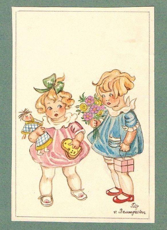 Kinder children Mädchen Tilly von Baumgarten-Haindl Zeichnung drawing 103635