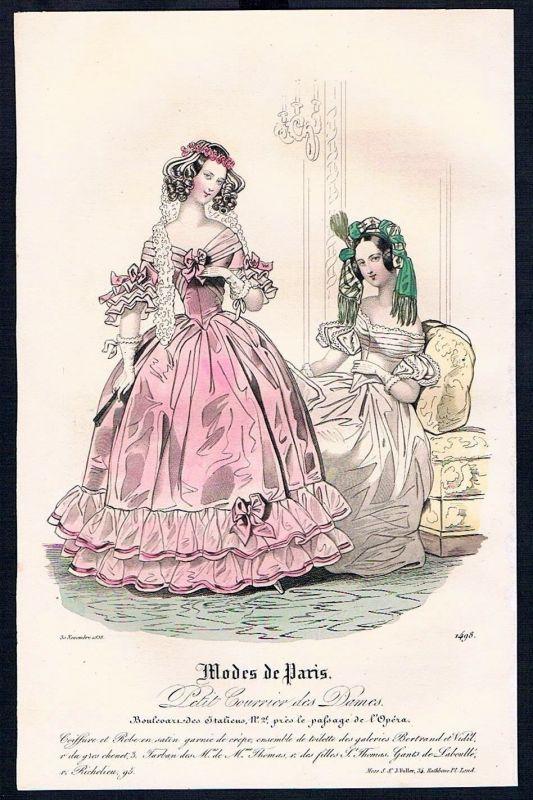 1838 Biedermeier Mode Kupferstich victorian fashion antique print Paris et 88886
