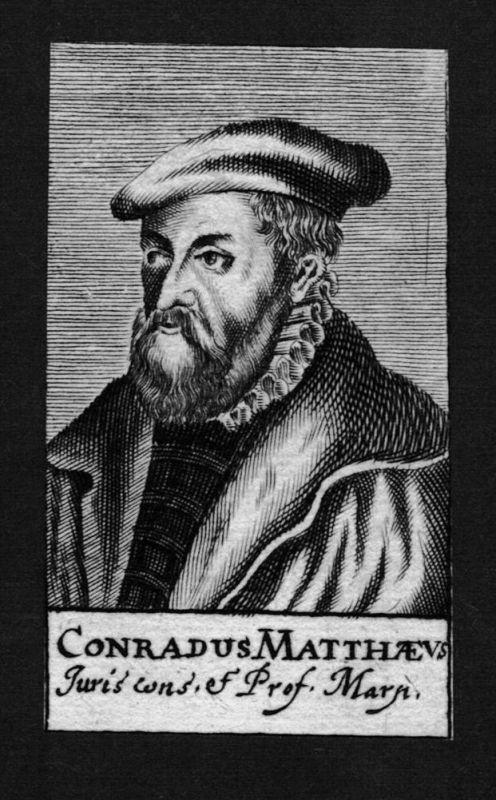 1680 - Konrad Matthäus Jurist lawyer Professor Marburg Kupferstich Portrait