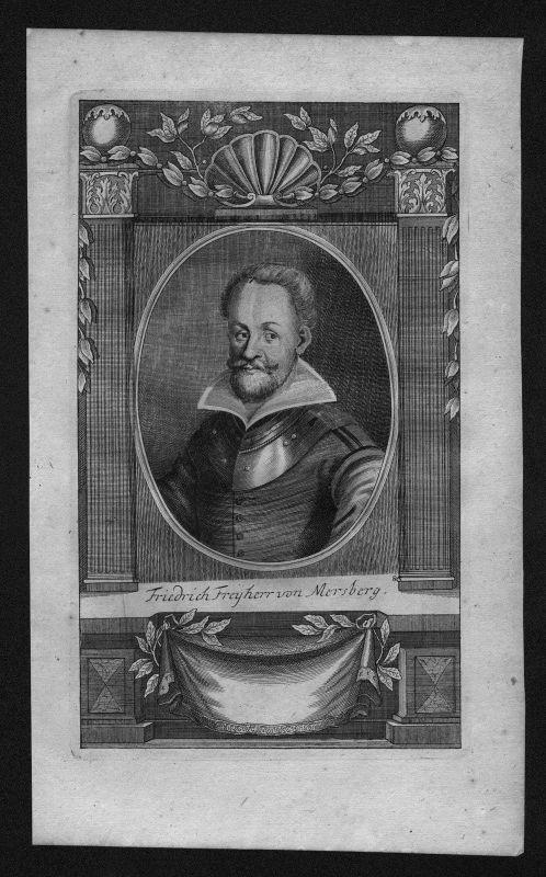 1720 - Friedrich Freiherr von Mersburg gravure engraving Kupferstich Portrait