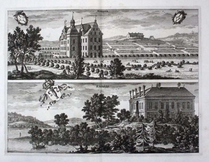1710 - Rinkesta Räfsnäs Eskilstuna Södermanland Kupferstich Dahlberg engraving