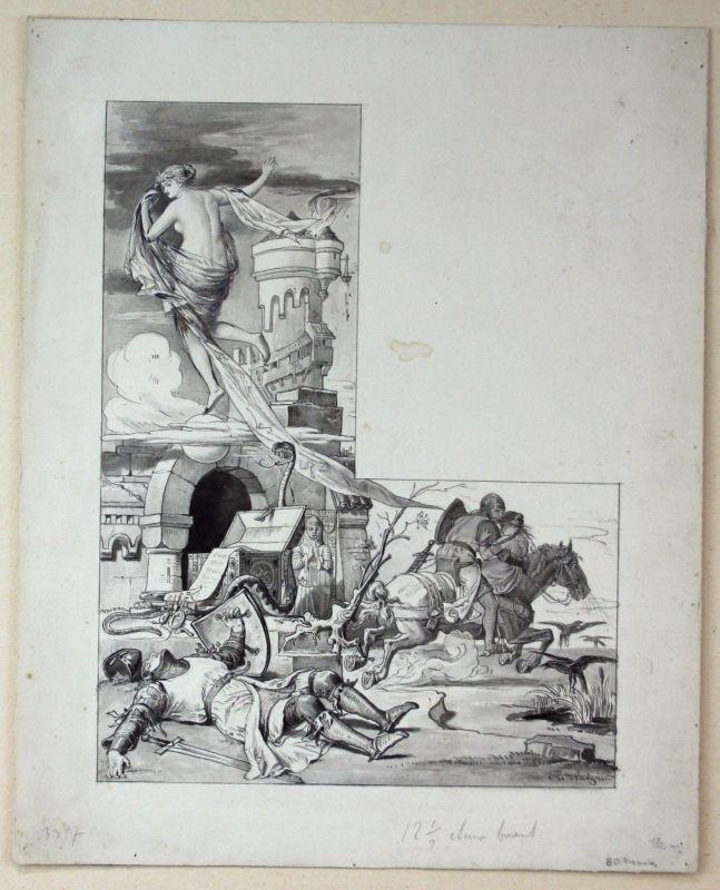 Konrad Weigand München Ritter Burg Original Zeichnung signiert