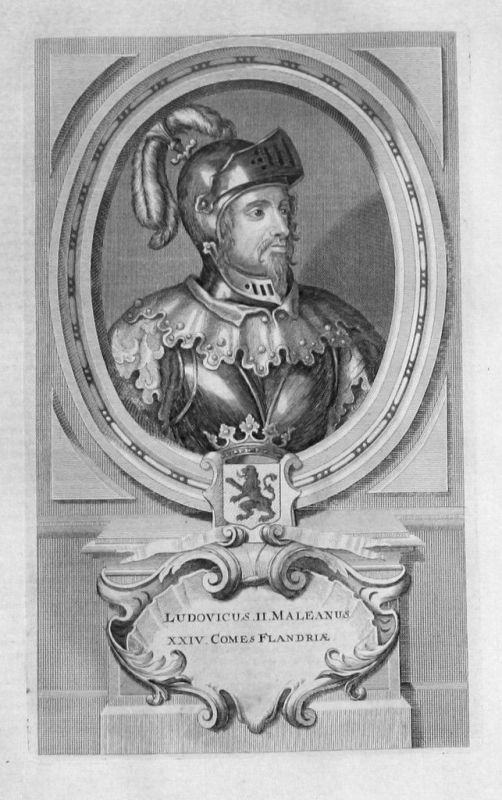 1735 - Ludwig II. von Flandern Dampierre Portrait gravure engraving Kupferstich
