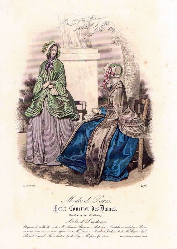 1846 Biedermeier Mode Kupferstich victorian fashion antique print etching  89733