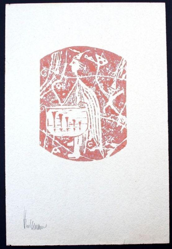 Heino Breilmann - Sterkrade Rheinmünster Original Linolschnitt signiert Grafik