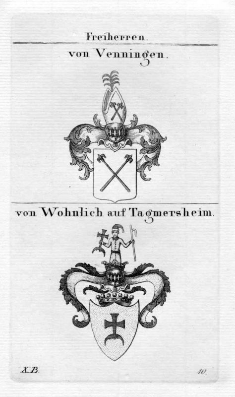 1820 Venningen Wohnlich Wappen Adel coat of arms heraldry Heraldik Kupferstich