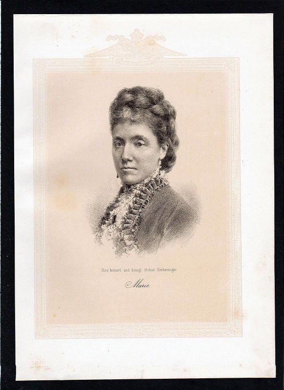 1875 - Maria Christina von Österreich Erzherzogin Habsburg Lithographie Portrait