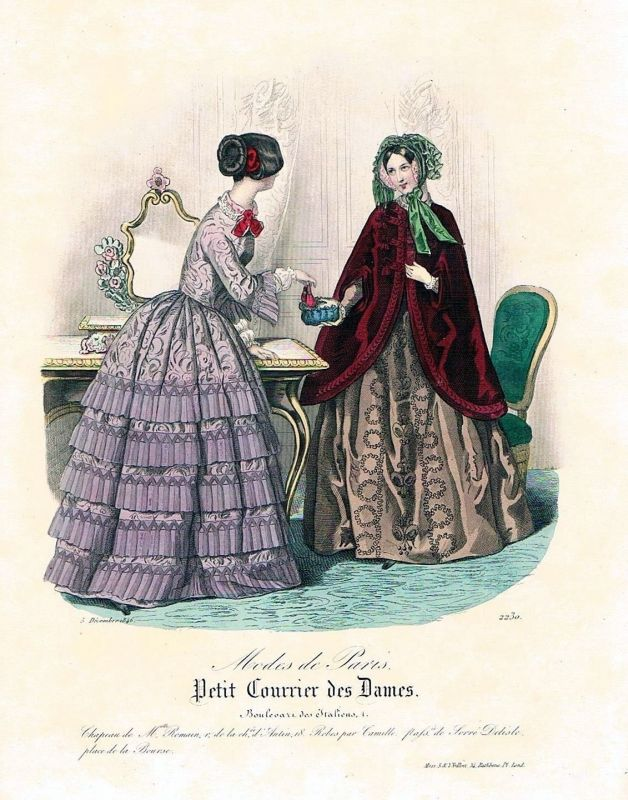 1846 Biedermeier Mode Kupferstich victorian fashion antique print etching  62263