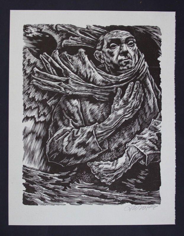 Hans Orlowski Original Holzschnitt signiert alter Mann woodcut signed