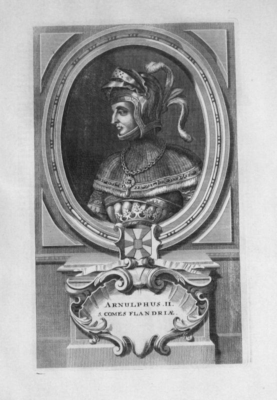 1735 - Arnulf II. von Flandern Flandre Portrait gravure engraving Kupferstich