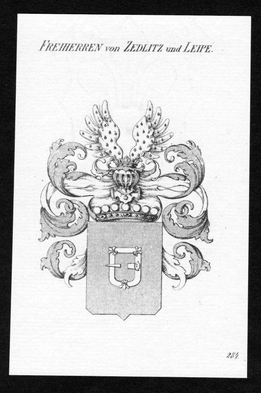 1820 - Zedlitz-Leipe Wappen Adel coat of arms heraldry Heraldik Kupferstich