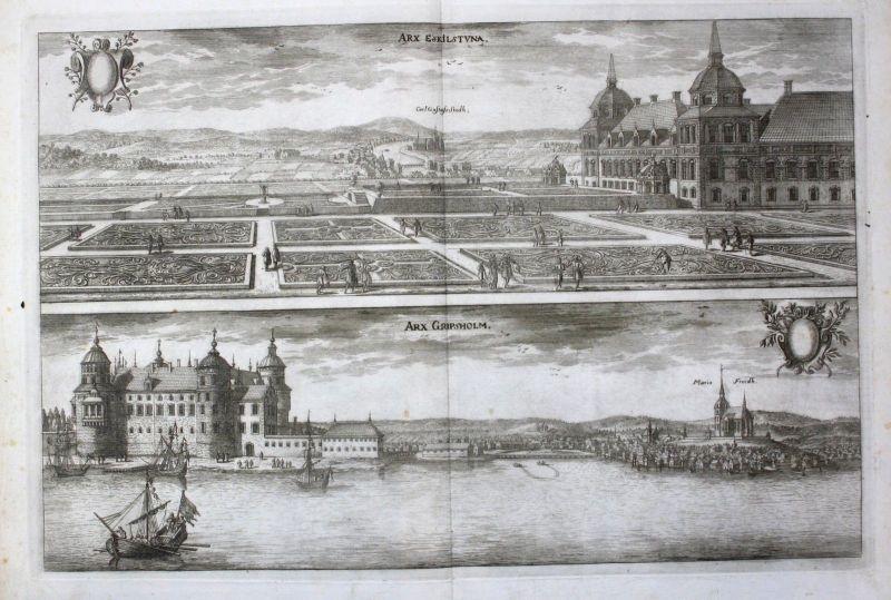 1710 - Eskilstuna Gripsholm slott Södermanland Kupferstich Dahlberg engraving