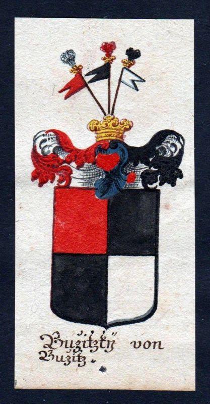 18. Jh - Buzitzky von Buzitz Böhmen Wappen coat of arms Manuskript