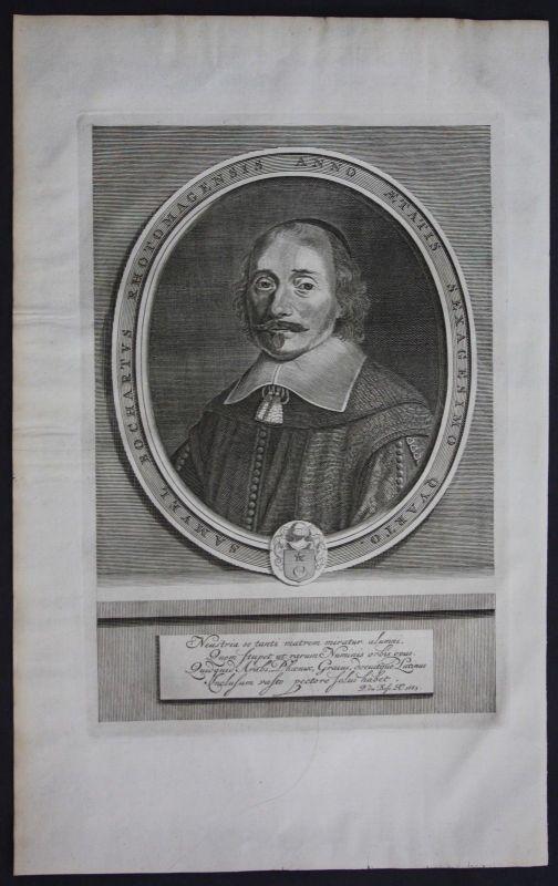 1700 Samuel Bochart biblical scholar bible portrait engraving antique print