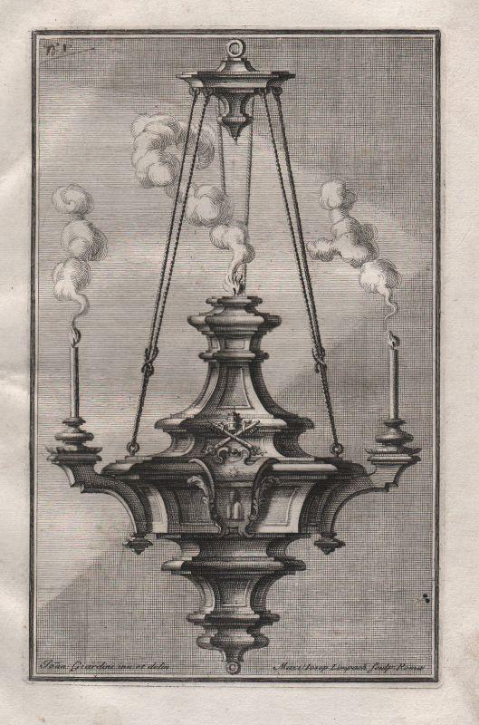 Candles chandelier Leuchter Kerzen silver silversmith design baroque Kupferstich