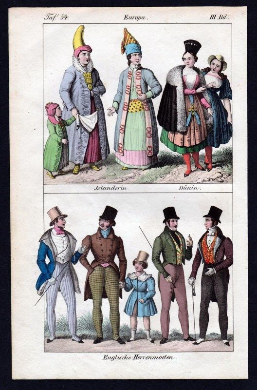 1830 - Island Dänemark England Trachten costumes Lithographie antique print