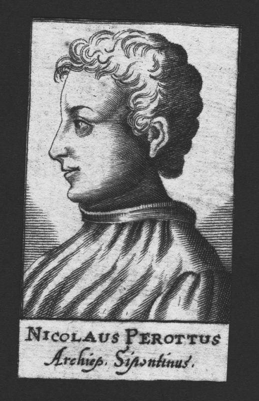 1680 - Niccolo Perotti Humanist Erzbischof Siponto Italien Kupferstich Portrait