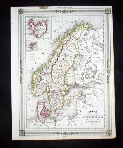 1846 - Skandinavien Norway Sweden Denmark Karte Map