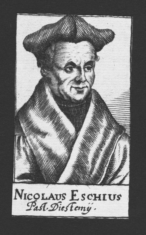 1680 - Nicolaus van Esch Theologe Pastor Diest Holland Kupferstich Portrait