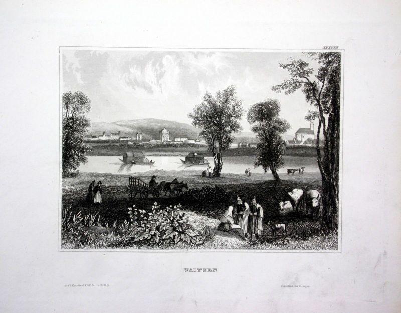 1840 - Vac Waitzen Bauern Pest Budapest Ungarn Hungary engraving Stahlstich
