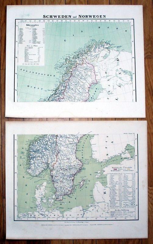 1850 - Sweden Norway Schweden Norwegen Karte Litho
