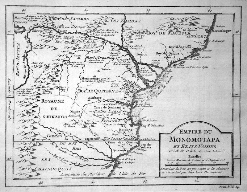 1750 Mosambik Mocambique Africa Afrika map Karte Kupferstich engraving Be 154908