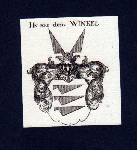 1780 - Herren aus dem Winkel Kupferstich Wappen