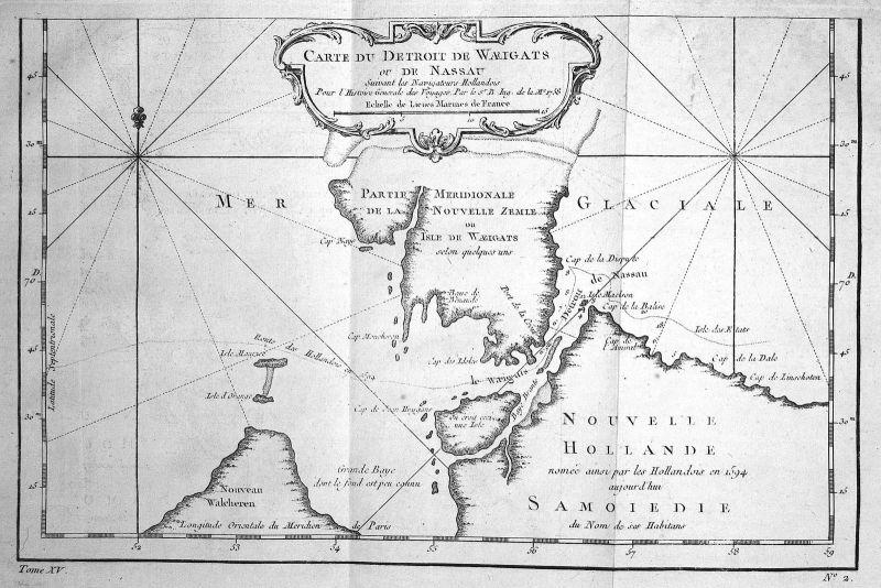 1758 Waigatsch Vaygach Russia Island Russland map Karte engraving Bellin 154889