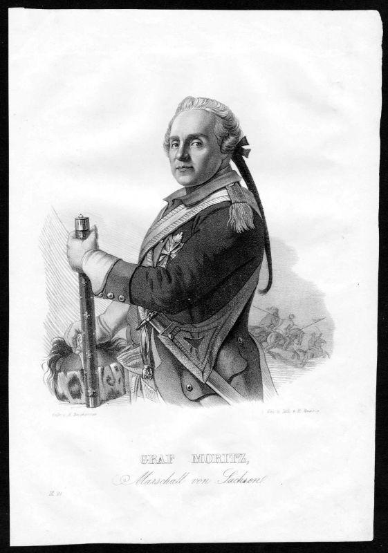 1840 - Hermann Moritz Graf von Sachsen Marschall Feldherr Lithographie Portrait
