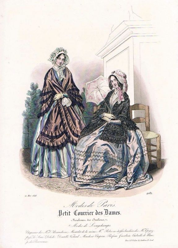 1846 Biedermeier Mode Kupferstich victorian fashion antique print etching  62259