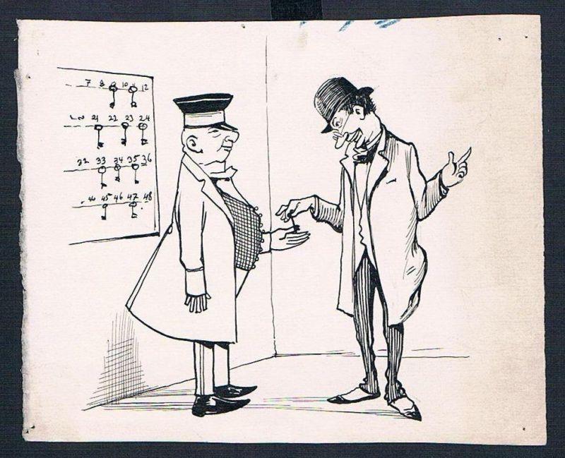 Eugen von Baumgarten München Karikatur Zeichnung Hotel Hotelier Gast Schlüssel