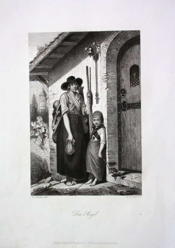 1850 - Asyl Asylanten Immigranten immigrants Frau Kind engraving Stahlstich