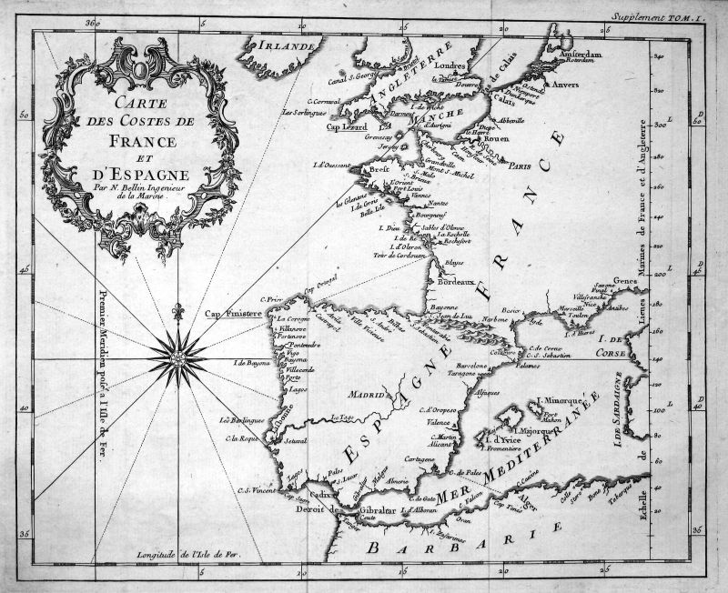 Ca. 1750 France Espana Spain Portugal carte map Kupferstich antique print Bellin