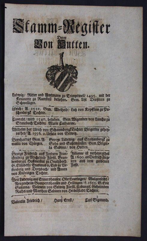 1720 - Hutten Harrass Harras Ahnentafel Stammbaum Genealogie Wappen family tree
