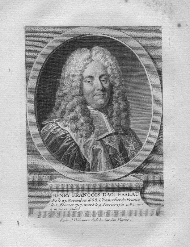 1750 - Henri Francois Aguesseau Kanzler Frankreich gravure Kuperstich Portrait