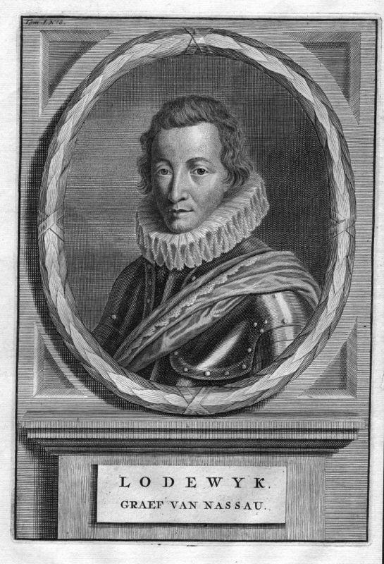 1700 - Ludwig von Nassau-Dillenburg Feldherr engraving Kupferstich Portrait