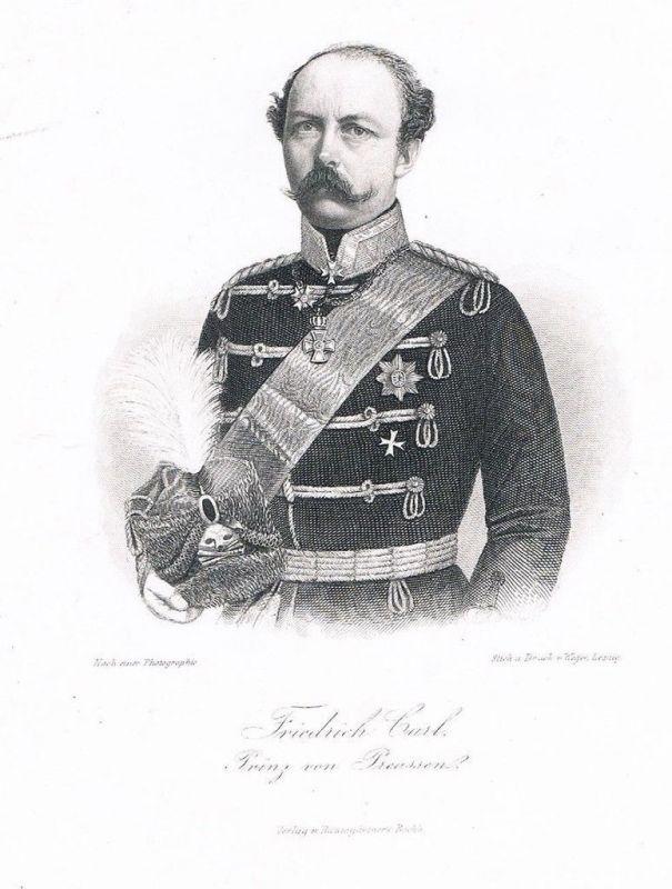 1870 - Friedrich Karl von Preußen Prinz Portrait Stahlstich engraving