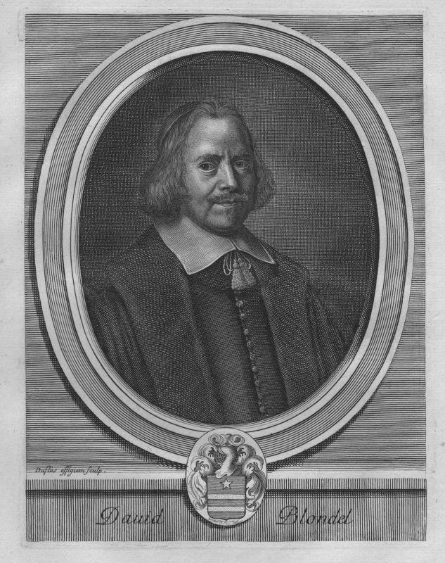 1780 - David Blondel - Theologe - Portrait Wappen Kupferstich engraving