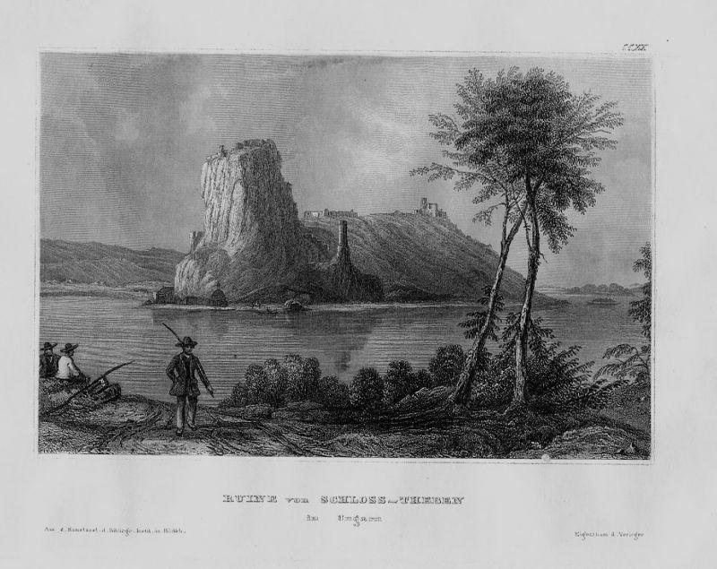 1840 - Schloss Theben Ruine Ungarn Hungary Hongrie engraving Original Stahlstich